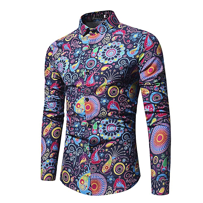 Fashion Fashion Personality Men's Casual Slim Long-sleeved Printed Shirt Top Blouse à prix pas cher