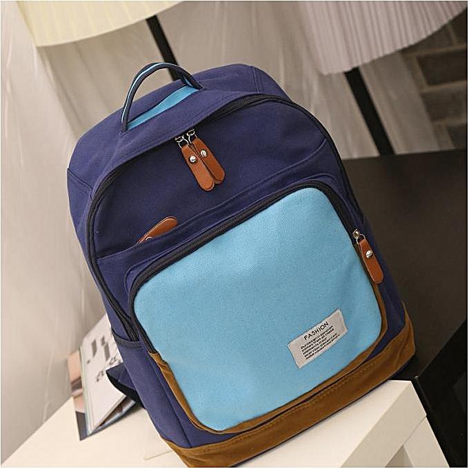 Fashion Hiamok _femmes Casual Lightweight Canvas Backpack School Bag bleu à prix pas cher