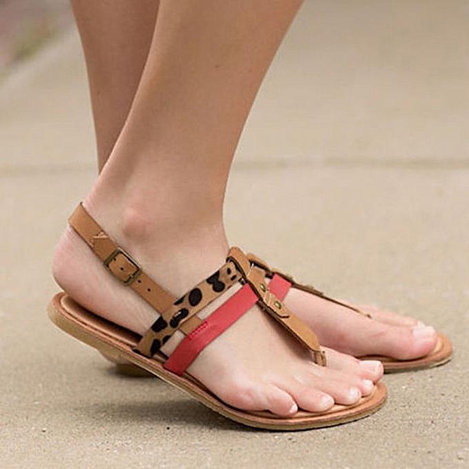 Fashion jiahsyc store Wohommes Sandals Leopard Flat Open Toe Ankle Buckle Comfortable Beach Walk chaussures à prix pas cher