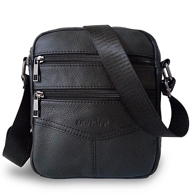 Other OGRAFF Men Messenger Bags Luxury  Leather Men Bag Designer High Quality Shoulder Bag Casual Zipper Office Bags For Men(noir 1) à prix pas cher