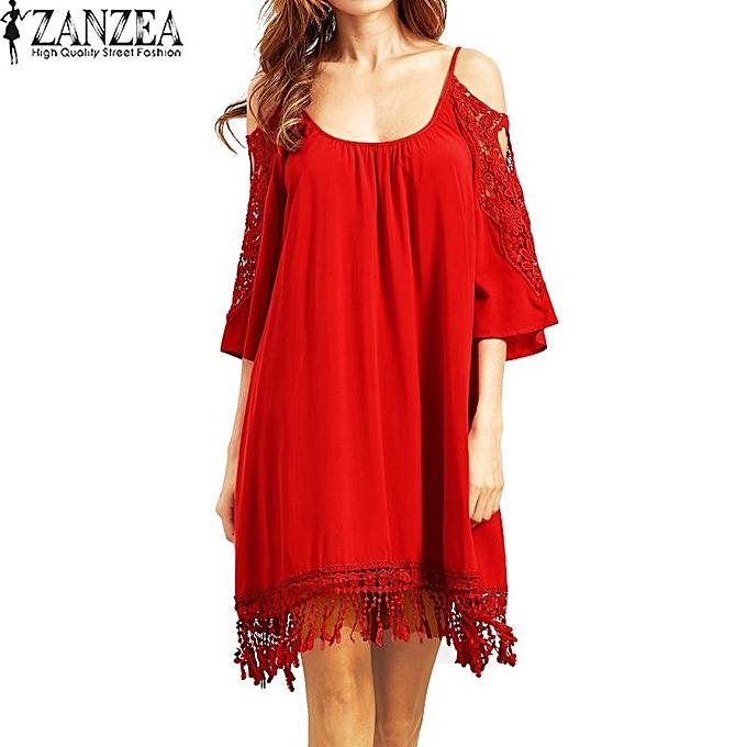 Fashion ZANZEA Boho femmes Été Froid Épaule Dentelle Crochet Glands Bretelles Plage Party Solide Casual Mini Robe Robe Plus Taille rouge à prix pas cher