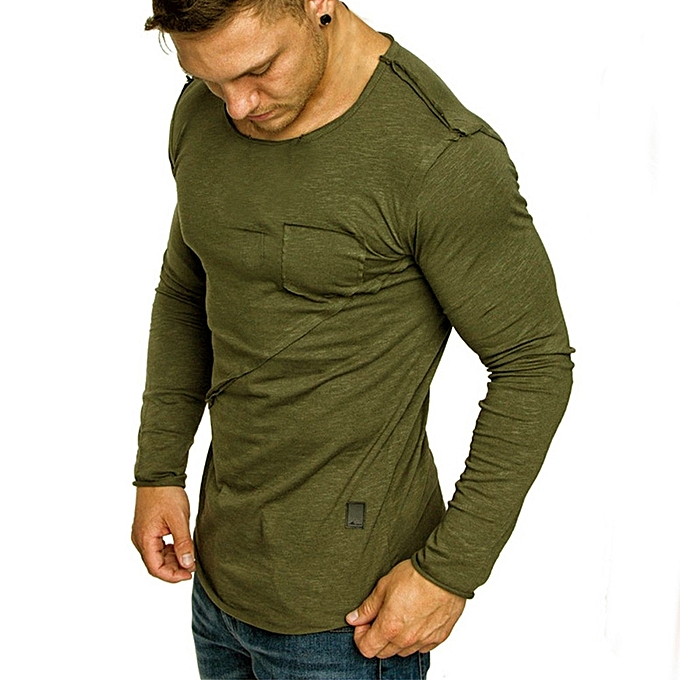 Fashion Men Long-Sleeve Beefy Muscle Button Basic Solid Pure Couleur Blouse Tee Shirt Top -Army vert à prix pas cher