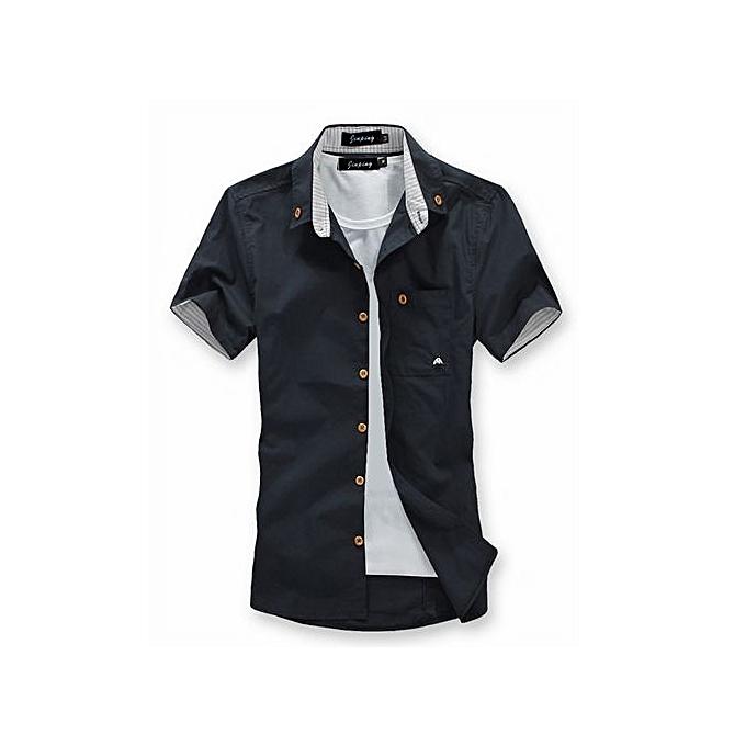 mode nouveau Brand Mushroom Embroidery Pour des hommes manche courte Décontracté Shirts mode été Cotton Shirt Hommes Social-noir à prix pas cher