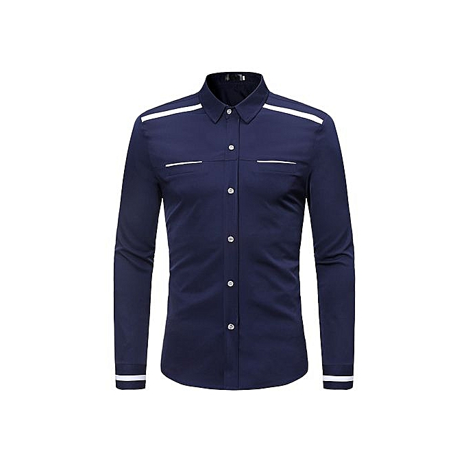 AFankara Shirt Slim Fit Popular Designs Hommes Shirts-bleu à prix pas cher