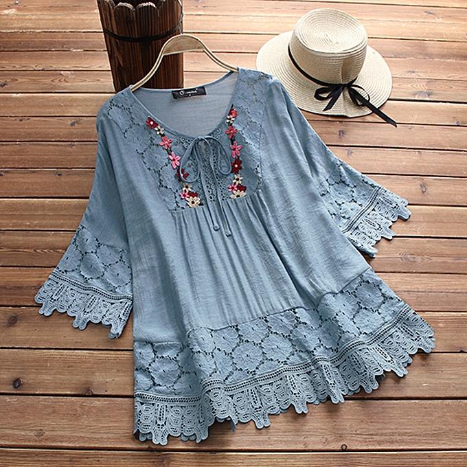 Zanzea femmes manche longue Lace Crochet HolFaible Shirt FFaibleer Splice chemisier à prix pas cher