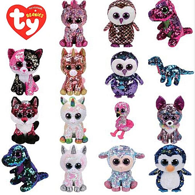 Autre Ty Beanie Boos Plush Animal Doll Sequin Soft Stuffed Cat Owl Fox Rabbit Unicorn Flamingo Sheep Dragon Dog Penguin Toys 6  15cm(Cat) à prix pas cher