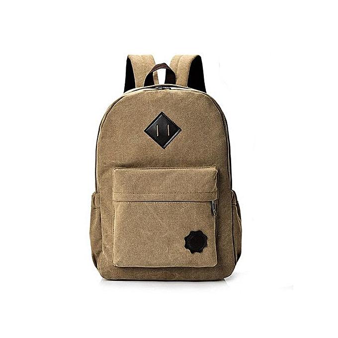 mode SingedanNeutral toile sac à dos School Lady Hommes voyage Student School Laptop sac  marron -marron à prix pas cher