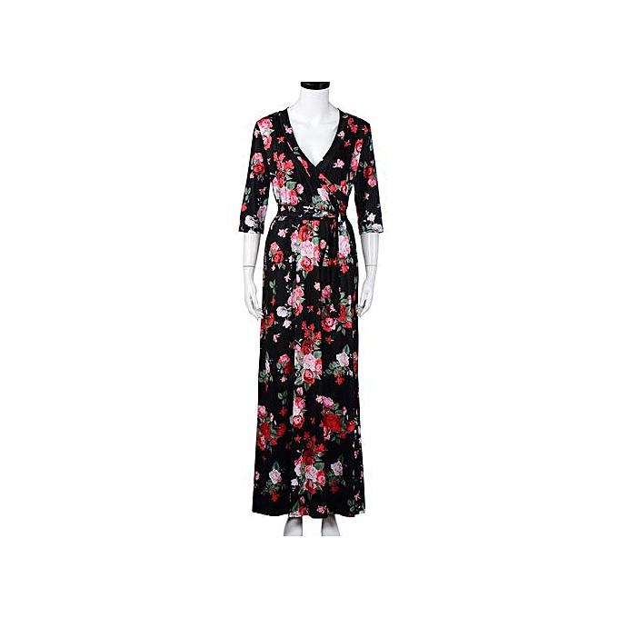 mode Xiuxingzi_femmes V Neck Boho Long Maxi Evening Party plage Robe Floral SunRobe à prix pas cher