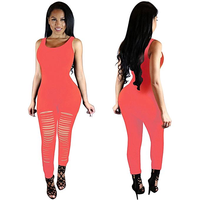 mode nouveau femmes Sleeveless Jumpsuits Cotton Sexy Bodycon Long Rompers PK L à prix pas cher