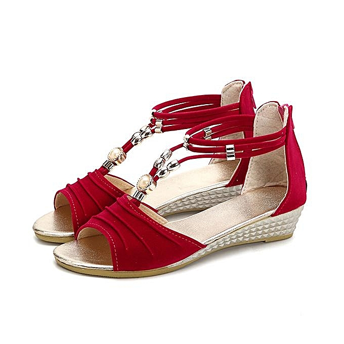 Fashion New femmes Fashion Beaded Flat Sandals T Strap Summer Beach chaussures Open Toe Wedges-EU à prix pas cher    Jumia Maroc