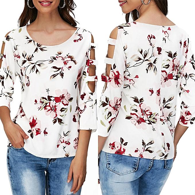 Fashion meibaol store Fashion femmes Casual Flower Print O-Neck Cutout Hollow Out Sleeve T Shirt Blouse à prix pas cher