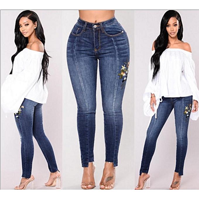OEM nouveau arrivel high waist elasticity embroiderouge denim waist pants female Décontracté pocket skinny pencil jean mode  pants jeans femmes trousers-dark bleu à prix pas cher