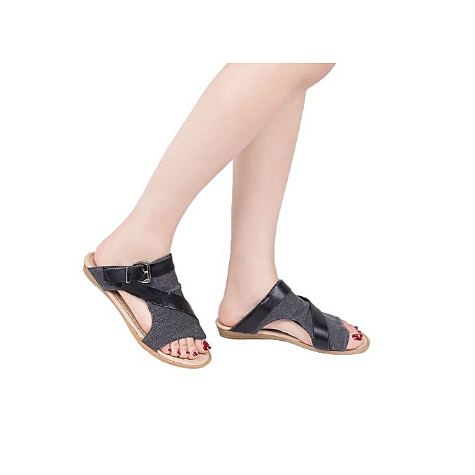 Fashion Tectores Fashion Trend femmes Slide Sandal Wedge Crisscross Strappy Buckle Cutout Stacked Wedge Sandal à prix pas cher    Jumia Maroc