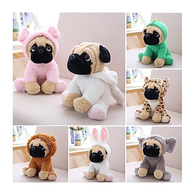 Autre Animals Pug Dog Plush Toys Dogs Cos Cosplay Dinosaur Rabbit Elephant lion Sheep leopard Stuffed Dolls(vert) à prix pas cher