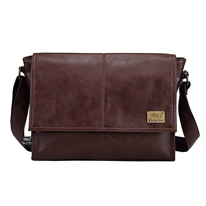 Other Designer Handbags Men's 14 Inch Laptop Bag Male PU Leather Messenger Bags Men Travel School Bags Leisure Shoulder Bags Free Ship(deep coffee) à prix pas cher