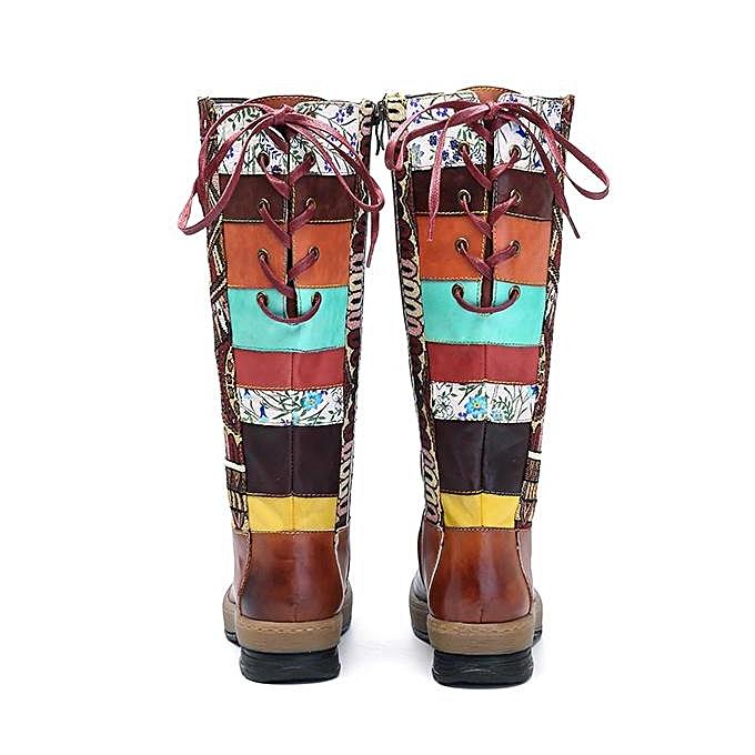 Fashion Fashion Fashion SOCOFY Bohemian Splicing Pattern Flat Leather Fashion WoHommes  Knee Mid Calf Boots à prix pas cher  | Jumia Maroc d9087d