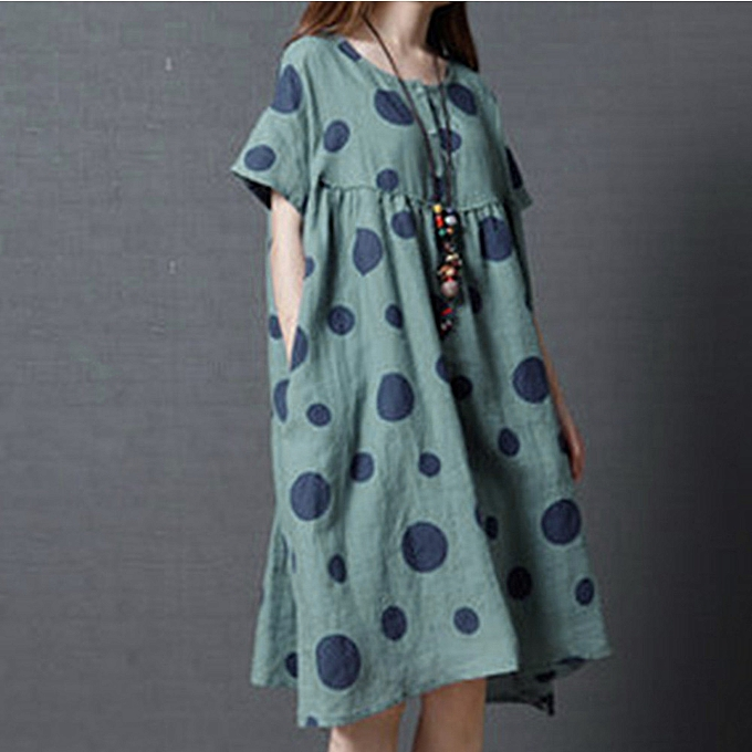 Fashion TCE Large Taille femmes Casual Loosen Polka Dot Print Long Cotton Linen Dress BU L à prix pas cher