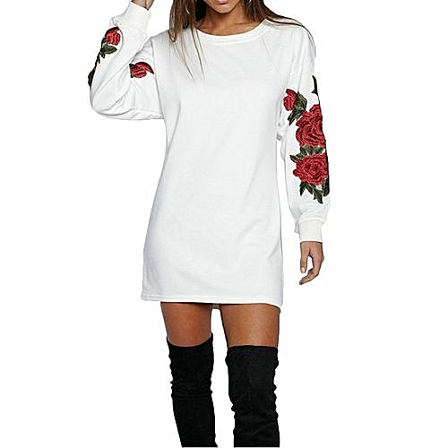1pc autumn winter embroidery rose casual long sleeve o for Housse voiture rose