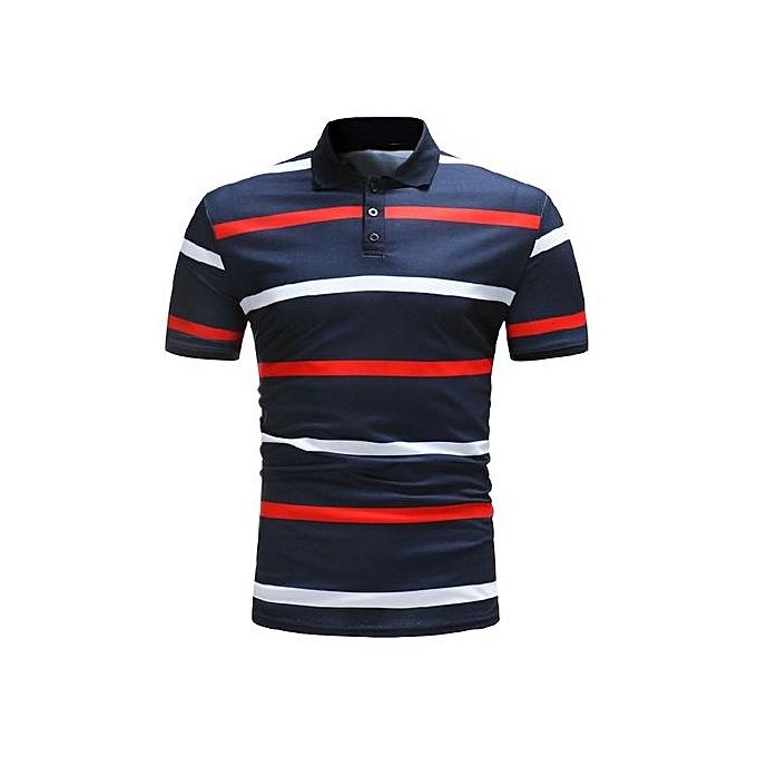 Other Hommes été Leisure Stripe Lapel manche courte Polo Shirt à prix pas cher