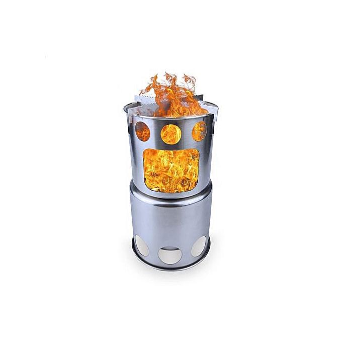 Generic Haojks Portable Burning Stove Pocket Folding Camp Stove Mini Fire Spout Barbeque à prix pas cher