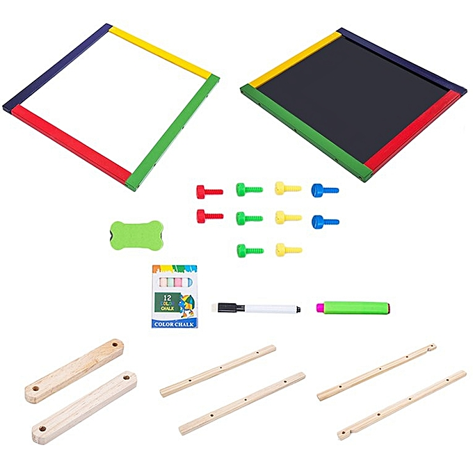 Generic Adjustable Kids Drawing Board Folding Sketchpad Magnetic Double Wooden Panel Couleurful à prix pas cher