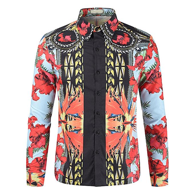 mode jiuhap store Hommes& 039;s nouveau Leisure mode Personality 3D Printed Hommes& 039;s manche longue Shirts chemisier à prix pas cher