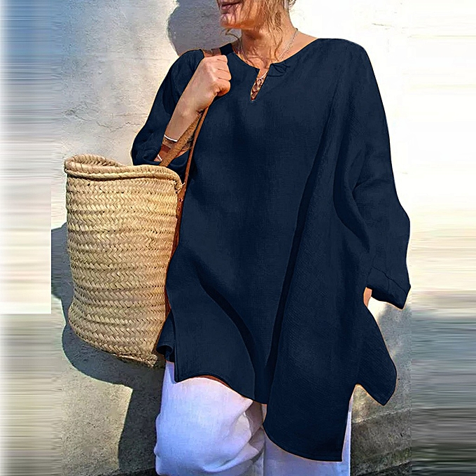 Fashion femmes Casual Linen Blouse Long Sleeve Loose V-Neck Solid Sunscreen Shirt Tops à prix pas cher