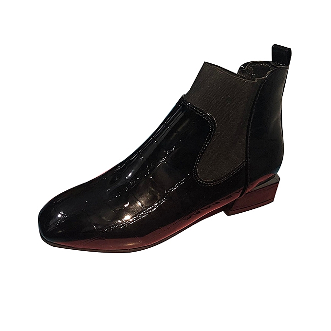 Fashion WoHommes  Square Toe Thick Heel Heel Heel Slip On Boots Casual Patent Leather Martin Shoes -Black à prix pas cher  | Jumia Maroc 3a7268