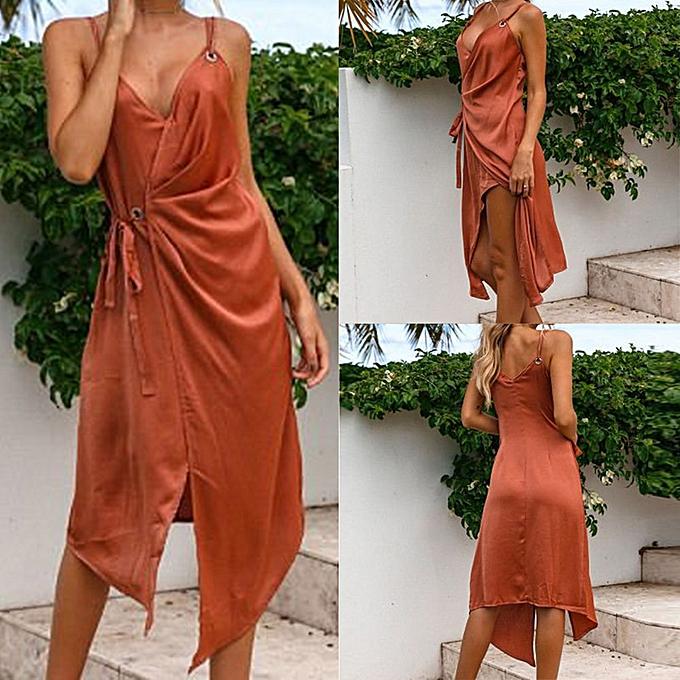 Fashion femmes Ladies V Neck Sleeveless Mini Dress Summer Beach Dress KH L à prix pas cher