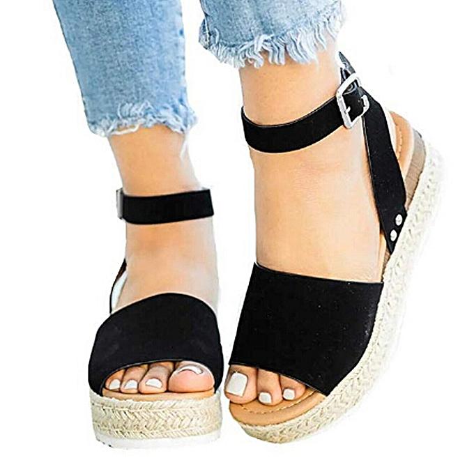 Fashion (Xiuxingzi) Casual Wohommes Rubber Sole Studded Wedge Buckle Ankle Strap Open Toe Sandals à prix pas cher