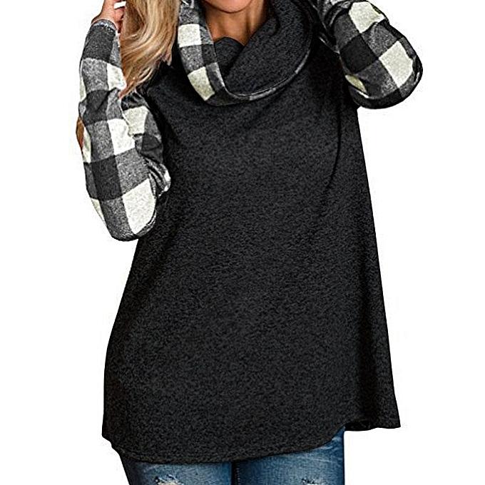 mode ZANZEA femmes Turtleneck Sweatshirt manche longue Plaid Check Décontracté chemisier Shirt noir à prix pas cher