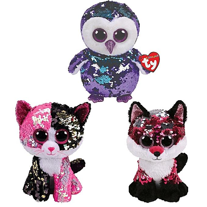 Autre Ty Beanie Boos Sequin Animal Plush Toys Doll Malibu The Cat Moonlumière The Owl Jewel the Fox Best Christmas 15cm(Cat) à prix pas cher