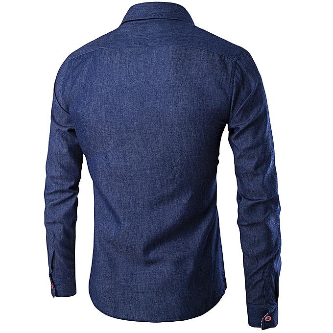 mode Pour des hommes Décontracté manche longue Shirt Affaires Slim Fit Shirt Cowboy chemisier Top à prix pas cher