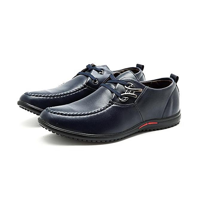 Fashion Fashion Men Metal Buckle Flat Lace Up Articial Leather Breathable Driving Casual chaussures-EU à prix pas cher