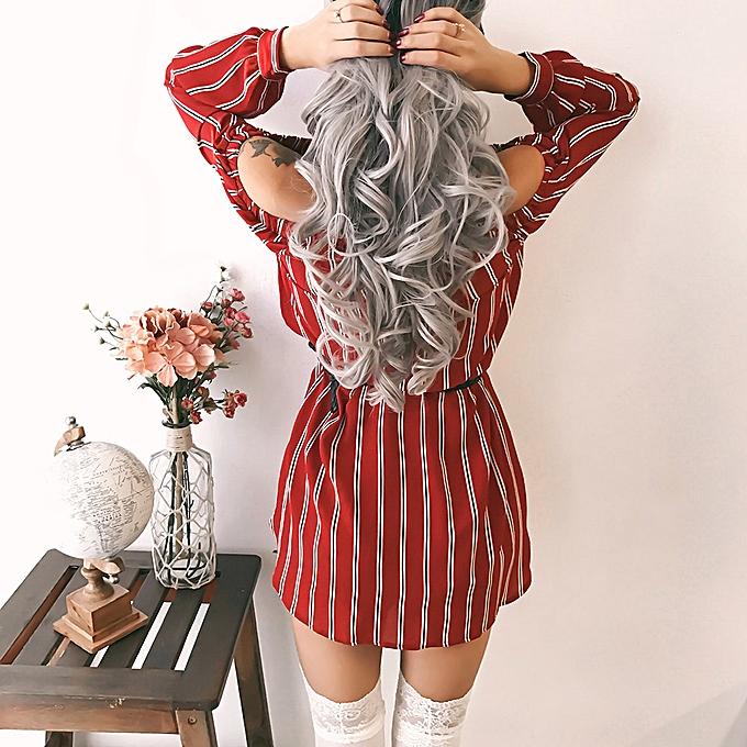 mode quanxinhshang femmes rayé Party Robe Ladies Off Shoulder Button Bowknot Mini Robe à prix pas cher