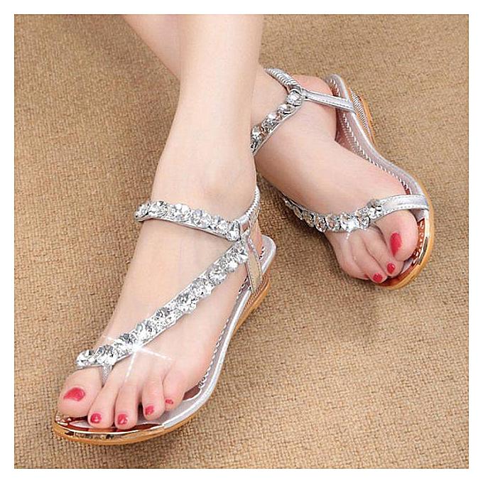 Générique Tcetoctre Woman Summer Sandals Rhinestone Flats à Platform Wedges Shoes Flip Flops SL 39-Silver à Flats prix pas cher  | Jumia Maroc 056b96