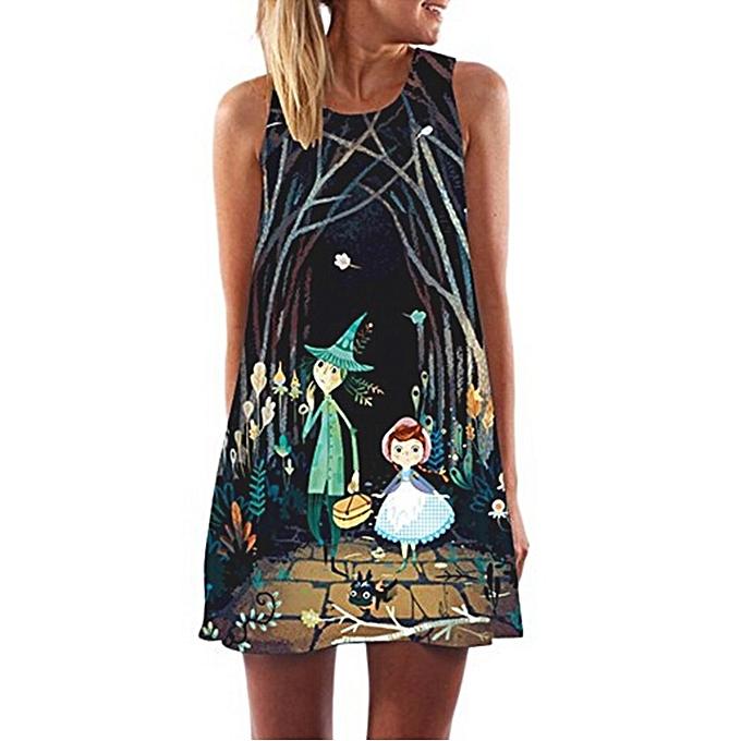 Fashion meibaol store Vintage Boho  femmes Loose Summer Sleeveless 3D Floral Print Bohe Tank Mini Dress à prix pas cher