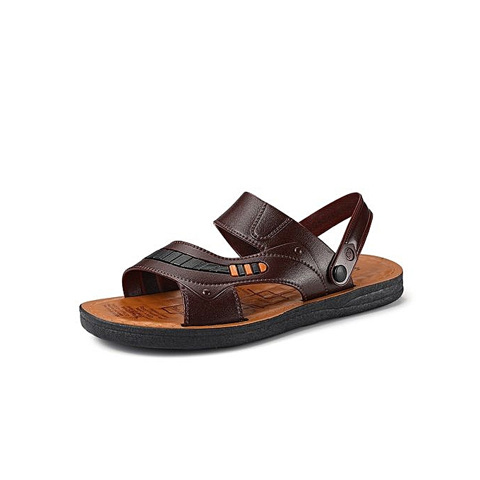 6cd20bc206 summer breathable leather sandals casual sandals beach shoes men slippers  comfort simple sandals-brown