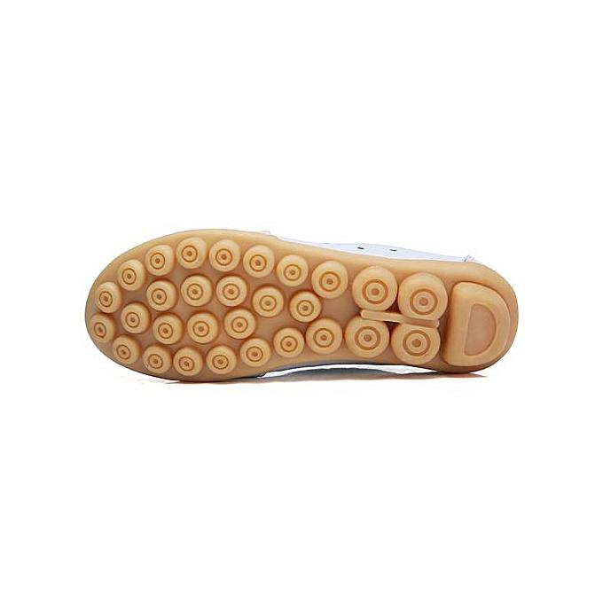 mode Jiahsyc Store Wohommes chaussures Lady Flats Sandals cuir Ankle Décontracté Slipper Soft chaussures-blanc à prix pas cher