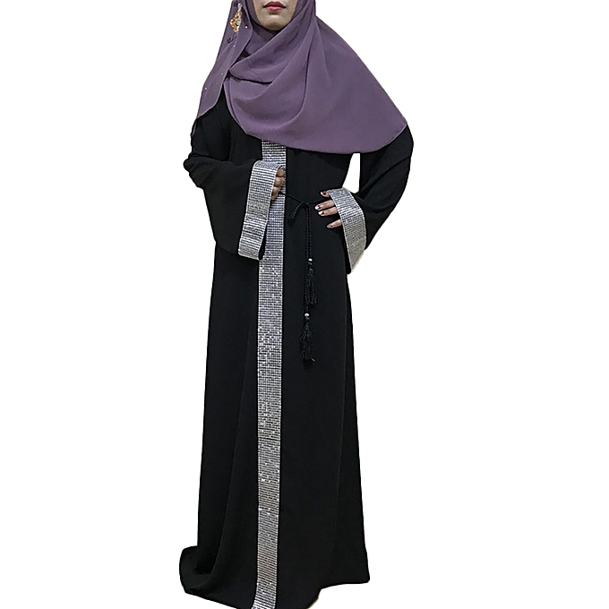Fashion Hiamok Muslim femmes Long Sleeve Dubai Maxi Dress Arab Kaftan Cocktail Robe Clothing à prix pas cher