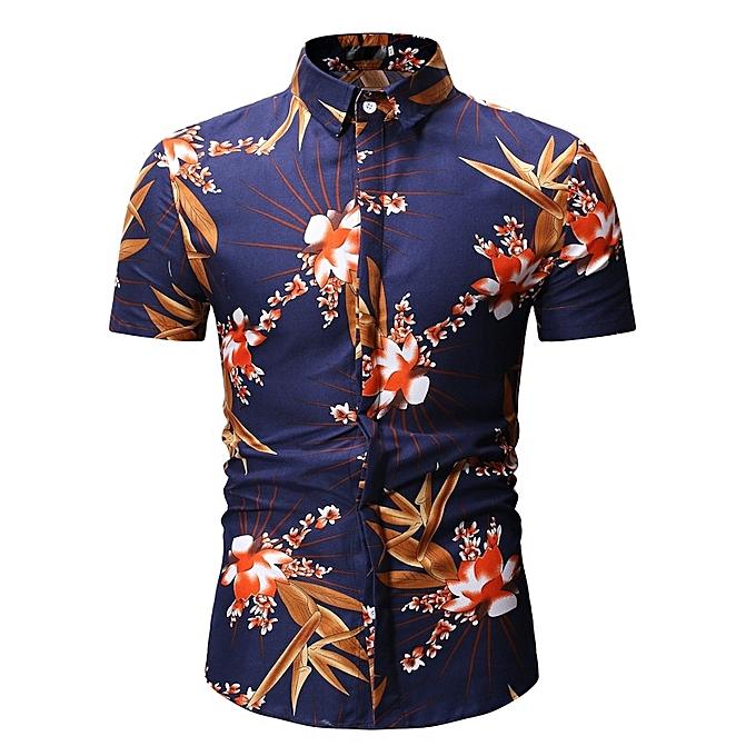Other mode été Hommes& 039;s Slim FFaibleer Shirts Décontracté manche courte Shirt -Navy bleu à prix pas cher