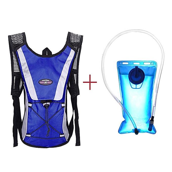 Generic Tcetoctre Water Bladder Bag Backpack+Hydration Packs Hiking Camping 2L-bleu à prix pas cher