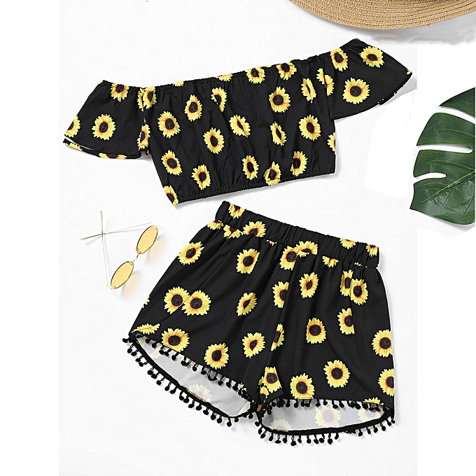 Fashion africashop femmes Off Shoulder Sunflower Print Crop Tops +Tassel Shorts Two-Piece Outfit à prix pas cher