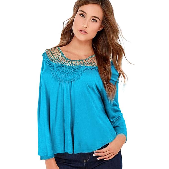 Fashion Hiamok femmes Long Sleeve Shirt Casual Lace Floral Blouse Loose Tops T-Shirt BU L à prix pas cher