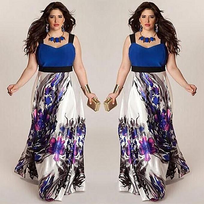Fashion schoolcool Plus Taille femmes Floral Printed Long Evening Party Prom Gown Formal Dress XL à prix pas cher