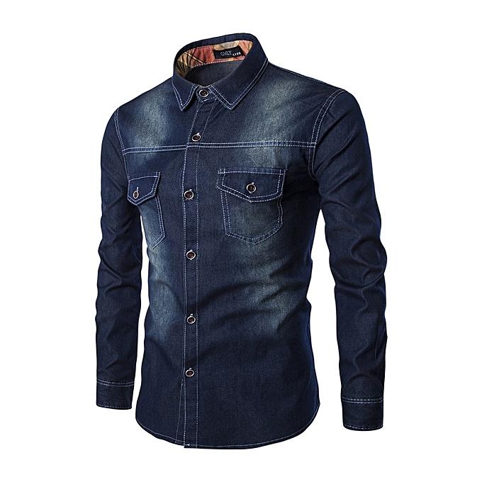 OEM Chemise en jean nouveau Super Taille pour hommes - Double chemise à hommeches longues et à la poitrine - noir à prix pas cher