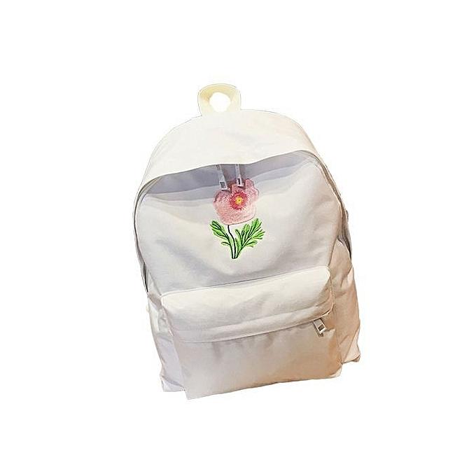nouveauorldline femmes Rose Vintage toile sac à dos Satchel sac à dos voyage School sac- blanc à prix pas cher