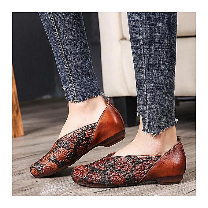 Fashion SOCOFY Fashion WoHommes  Retro Pringting Rose Pattern Pattern Rose Soft Flat Leather Shoes Loafers à prix pas cher  | Jumia Maroc f2f3a9