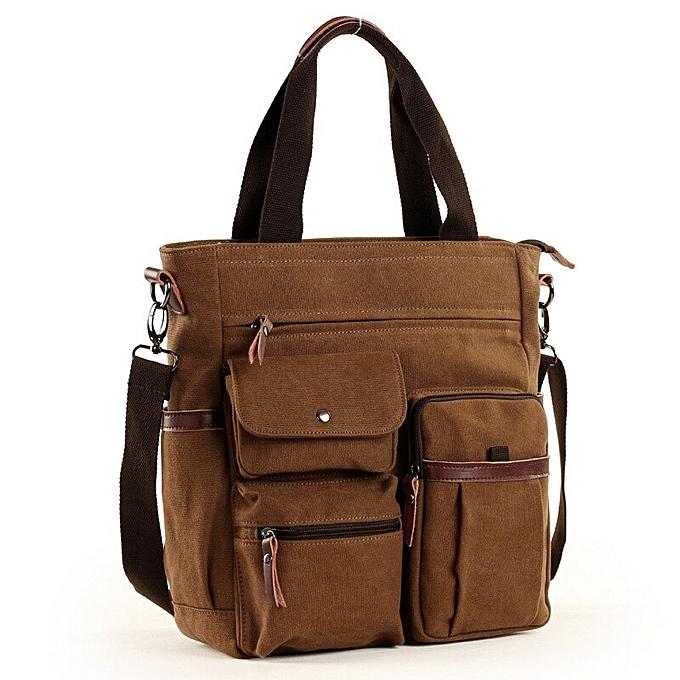 Other ATAXZOME 2019 Men's Shoulder Bag Premium Waterproof Canvas Briefcase for Men Laptop Work Business Trip Bag For handle B502(marron) à prix pas cher