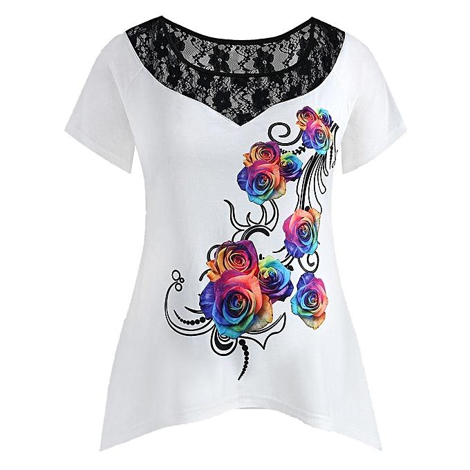 Generic Generic mode femmes Plus Taille Floral Printed Lace manche courte Tee T-Shirt hauts A1 à prix pas cher